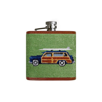 Woody Needlepoint Flask in Moss by Smathers & Branson