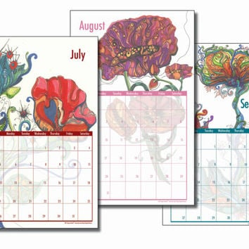 2015 Large Wall Calendar filled with Colorful Bohemian Prints of Original Pen and Ink Paintings