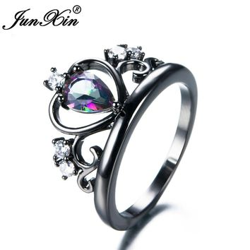 JUNXIN Brand Female Mystery Rainbow Ring 2017 Fashion Crown Ring Black Gold Filled Jewelry Vintage Wedding Rings For Women
