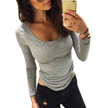 T-shirts For Women Casual Slim Bodycon Long Sleeve T-Shirt Tops Pullover Cotton blusas feminino Gray Color INY66