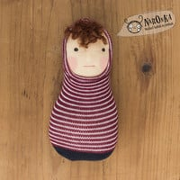 Pocket Waldorf doll with a striped sock body - toy for toddlers - baby doll - boy doll