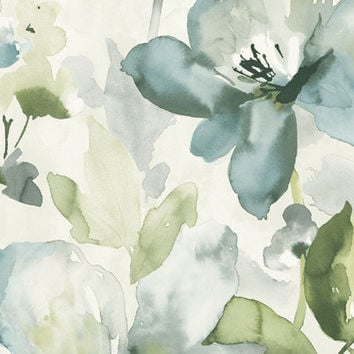 Sample of Artistic Floral Wallpaper in Blues and Metallic design by Seabrook Wallcoverings