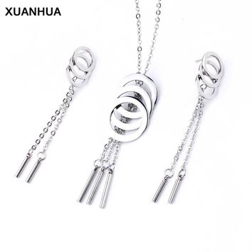 XUANHUA Wholesale Stainless Steel Wedding Fashion Jewelry Sets For Women Round Tassel Dubai Jewelry Sets Of African Jewellery