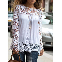 Hot New Women Ladies Lace Blouses Tops Chiffon Blouse Long Sleeve Embroidery Top Shirts camisetas y tops Size S-5XL Plus Size Z1