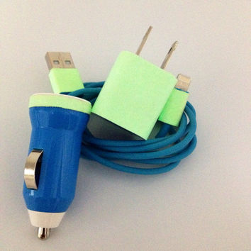 Glow in the dark IPhone 4/4S, 5 charger 3 in 1 Glow in the  Dark in deferent  color of your choice charger