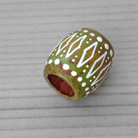Green Dreadlock Bead - Moss Green Tribal Hair Bead - Wood Hand Painted Hair or Jewelry Bead - Green Wooden Dread Bead