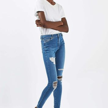 Moto Mid Blue Super Rip Leigh Jeans | Topshop