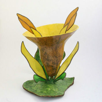 Primitive Gourd Art Flower Sculpture with Stained Glass, Yellow Flower Sculpture, OOAK