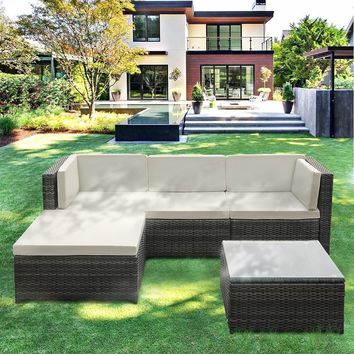 2017 5PCS Rattan Wicker Patio Garden Furniture Sofa Set with Cushions Outdoor Corner Sectional Couch