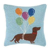 Dachshund With Balloons Pillow