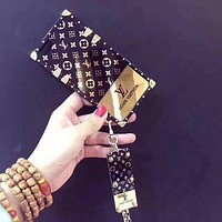 LV Louis Vuitton Electroplating dazzle black iphone 6 6s 7 7plus 8 X iPhone Phone Cover soft Case soft shell