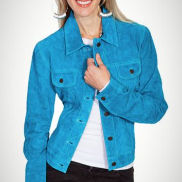 Scully Turquoise Classic Jean Leather Suede Jacket