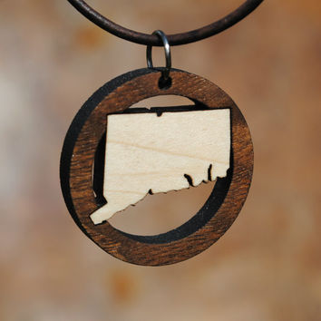 State of Connecticut Laser Cut Wooden Necklace Jewelry Wood Inlay