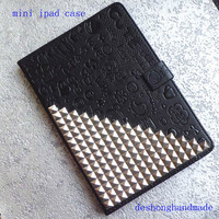 ipad case,iPad mini Case, iPad mini Cover ,iPad,black case studded silver studs,studded mini ipad case--Lovely and steampunk  case