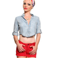 GYPSY WARRIOR - Cloudy Denim Crop Top