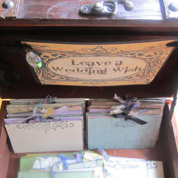 Guest Book Wedding Alternative Wish Box Vintage Style Victorian Steampunk 100 Wish Cards