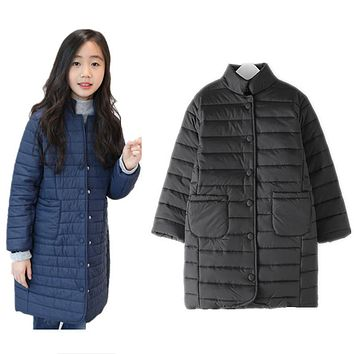 8 to 16 years kids & teenager girls winter quilted long parkas jacket & coat children fashion casual warm slim outerwear clothes