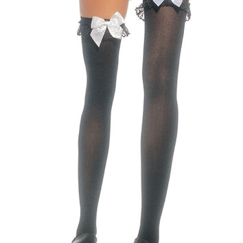 CHIFFON RUFFLE AND BOW THIGH HIGHS