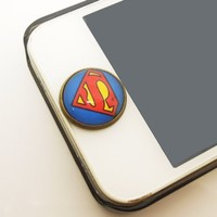 Kids Gift 1pc Glass Epoxy Transparent Times Gems Superman iPhone Home Button Sticker for Iphone 4,4s,4g,5,5c Cell Phone Charm