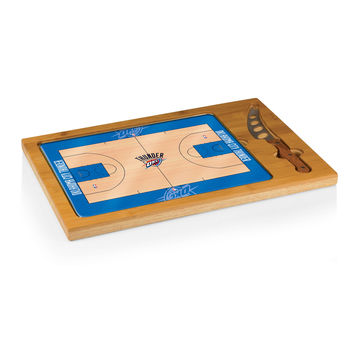Oklahoma City Thunder - 'Icon' Glass Top Serving Tray & Knife Set by Picnic Time (Basketball Design)