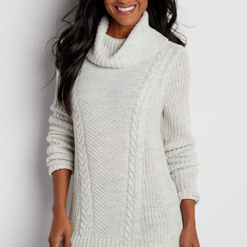 cable knit tunic sweater with cowl neck | maurices