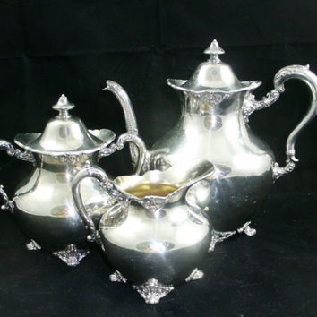 Antique Silver Plate Tea Set Toronto Silver Plate Company  EPBM Holloware Footed Tea Service Teapot Sugar Creamer