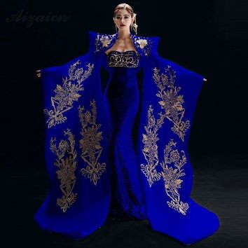 Embroidery Cheongsam Chinese Traditional Clothing Qipao Luxury Long Evening Dress