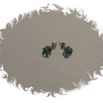 Aqua blue Stud Crystal Rhinestone Earrings
