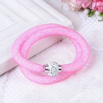 Hot sale Mesh Tube Double Rows Bracelets Crystal Filled Rhinestone Magnetic Clasp Charm Mesh Wrist Bracelets Bangles