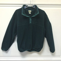 Vintage LL Bean Fleece Pullover Sweatshirt / Made in USA / Hunter Green Medium