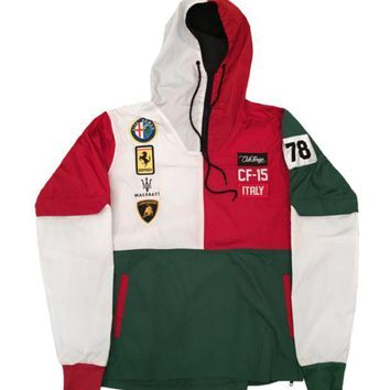 Club Foreign Italy Series Windbreaker In Green/white/red - Beauty Ticks