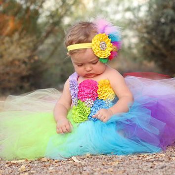 Full Rainbow Tutu Dress Crochet Baby Tulle Dress with Headband 1st Birthday Dress Newborn Photo Props Candy Land Tutu TS092
