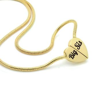 """Gold Heart Big Sister Necklace on Magnet Connectors Engraved with """"Big Sis"""""""