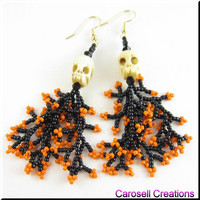 Halloween Skulls Beadwork Seed Bead Earrings with Coral Dangles in Orange