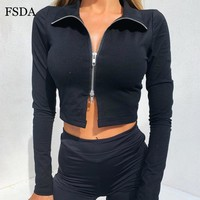 FSDA Black White Zipper Crop Top V Neck Long Sleeve Short Women Casual Skinny Sexy Solid Black Party Streetwear Summer T Shirt