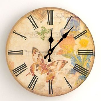 Butterfly Flower Wood Round Analog Wall Clock