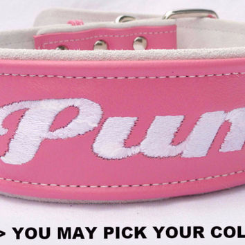 "Dog Collar: Leather w/ Suede - 2"" Wide - Personalized - Adjustable (Sizes from 18-24) Example 3"