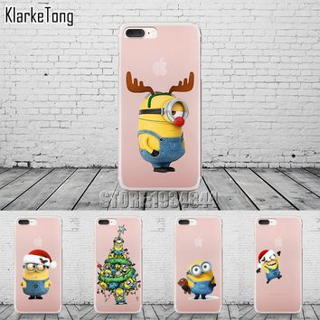 Minion Christmas New Year Phone Case Cover For iPhone 7 7Plus 6 6s 5 5s SE 8 X Cases Luxury Transparent Soft Silicone Coque Capa