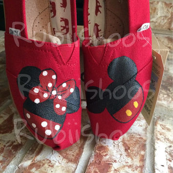 Mickey and Minnie Mouse Head with or without glitter on Toms