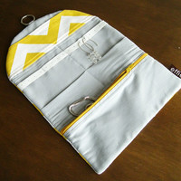 Jewelry Organizer Roll Clutch for Travel - Yellow and White Chevron - Great Gift for Mom Sister Friend Woman