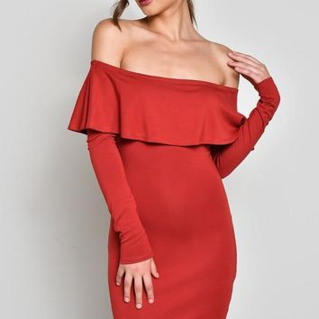 Long Sleeve Off Shoulder Ruffle Dress