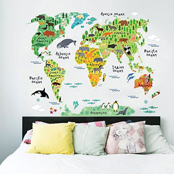 AWAKINK(TM) Cartoon Background Colorful English Words World Map Wall Art Decals Stickers Vinyl For Kids Rooms Parlour Television Wall Home Decal Home Decoration