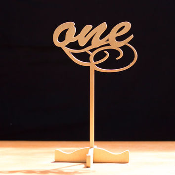 Gold table numbers-Freestanding with base-table number-wedding numbers-wedding table  numbers