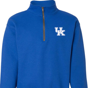 UK Interlock Logo on a Blue 1/4 Zip Fleece Pullover