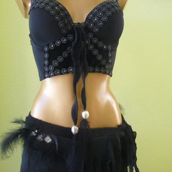 Bra Top 36 C embellished Gothic STEAMPUNK dark fairy victorian Exotic Dance Belly Dance Costume