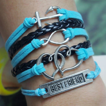 Anchor, Infinity, Heart to Heart & Best Friend Bracelet Charm-Wax Cords and Blue Imitation Leather Bracelet-Personalized Friendship Jewelry
