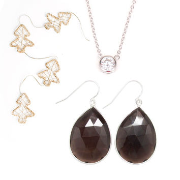 Smokey Quartz Silver Earring and Solitaire Necklace Set