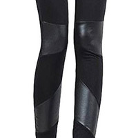 Women Faux Leather Splice Skinny Stretch Leggings