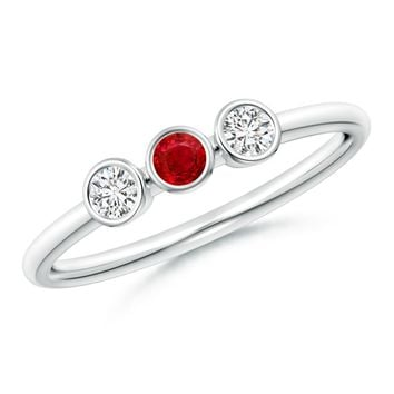 Classic Bezel Set Ruby and Diamond Three Stone Ring