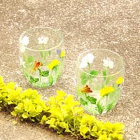 Floral Tumblers, 2 Small Painted Clear Flower Glasses, Spring Drinking Glass Cups